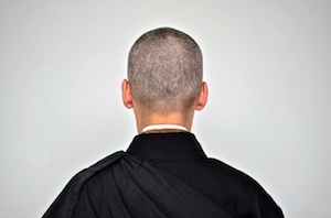 Back of Buddhist's shaved head